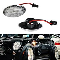 iJDMTOY (2) OEM Replace Clear Lens Side Marker Lamps w/ Amber LED Lights For MINI Cooper MKI R50 R52 R53