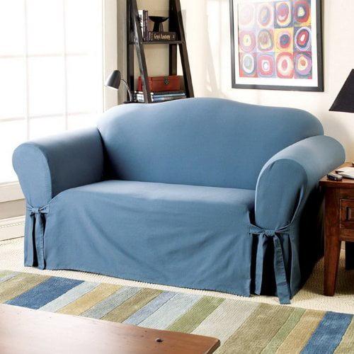 Sure Fit Cotton Duck Box Cushion Loveseat Slipcover Walmart