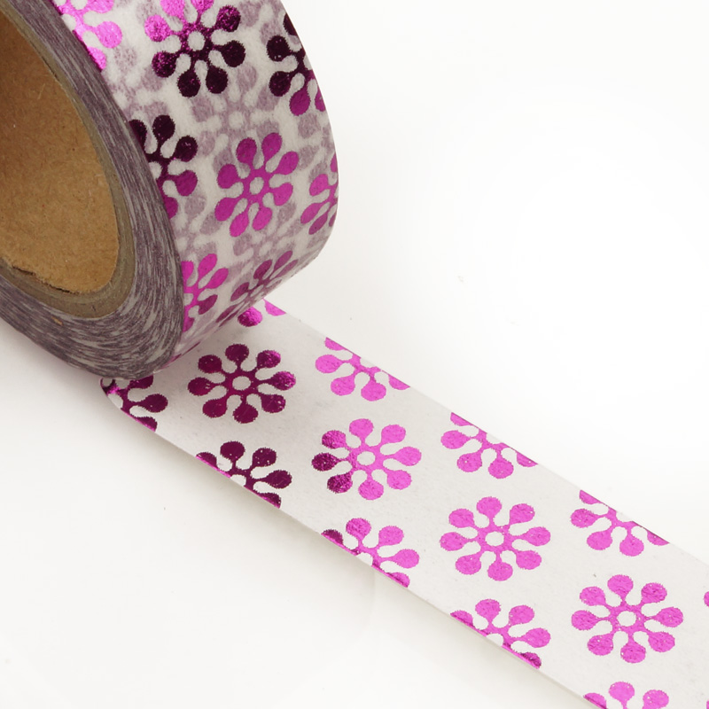 "9/16"" X 10 Yards White/Met Pink Daisy Washi Tape  by Paper Mart"