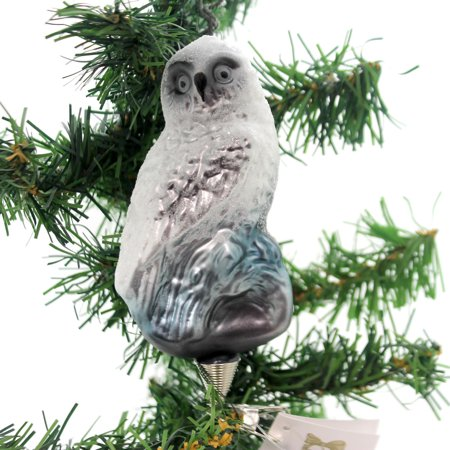 Golden Snow - Golden Bell Collection SNOW OWL CLIP ON . Glass Ornament Forest Hoot Who An481