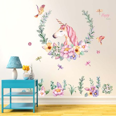 - TURNTABLE LAB Unicorn Wall Sticker Girls Bedroom Wall  Removable Baby Room Wall Mural Sticker Unicorn Gift for Birthday Party Favors