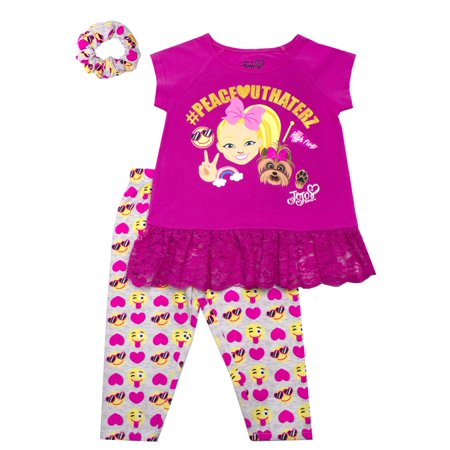 JoJo Emoji Ruffle Tee and Capri Legging with Scrunchie, 2-Piece Outfit Set with Scrunchie (Little Girls) - Emoji For Girls
