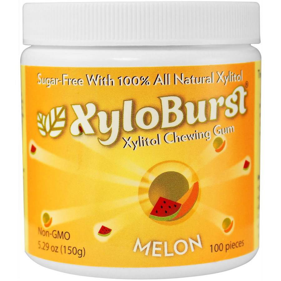 XyloBurst Melon Xylitol Chewing Gum, 100 count, 5.29 oz, (Pack of 3)