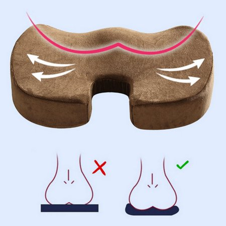 Gel Enhanced Seat Cushion Non Slip Orthopedic Memory Foam For Tailbone Pain