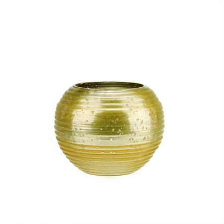 """Lot de 4 jaune et argent horizontal nervuré Mercury verre décoratif Porte-bougie votive 3.25"""" - image 1 de 1"""