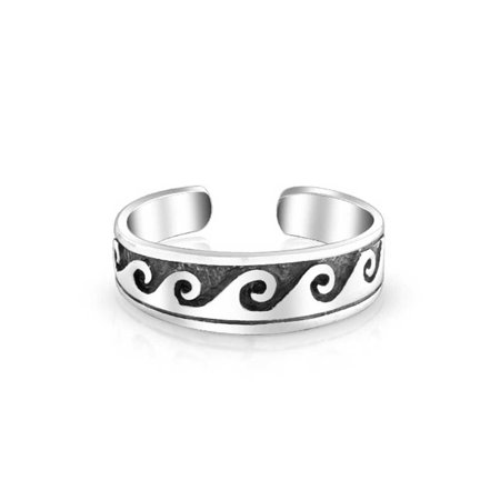 Nautical Ocean Waves Midi Thin Band Toe Ring For Women For Teen Oxidized 925 Silver Sterling Adjustable