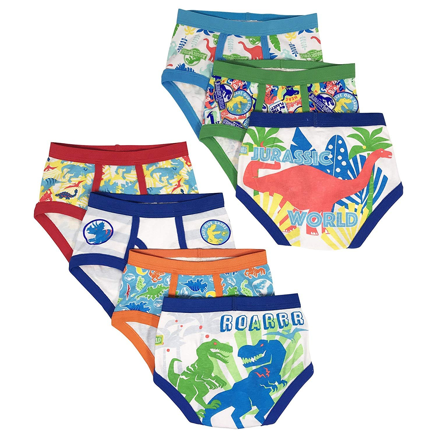 Universal Toddler Boys' 7-Pack Underwear Briefs, Jurassic World, 4t