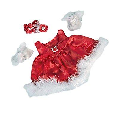 red silky christmas dress w/ gloves fits most 14 - 18 build-a-bear, vermont teddy bears, and make your own stuffed animals