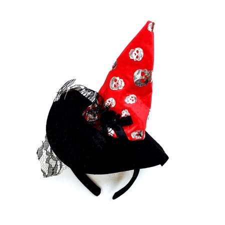 Pretend Play Dress Up Mozlly Red Wicked Witch Skulls Hat Halloween - Halloween Witch Hat Headband