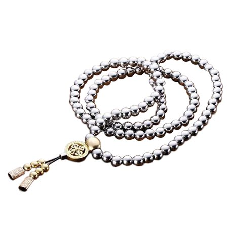 Outdoor Stainless Steel 108 Buddha Beads Necklace Chain Titanium Steel Metal Whip Self Defense Accessories