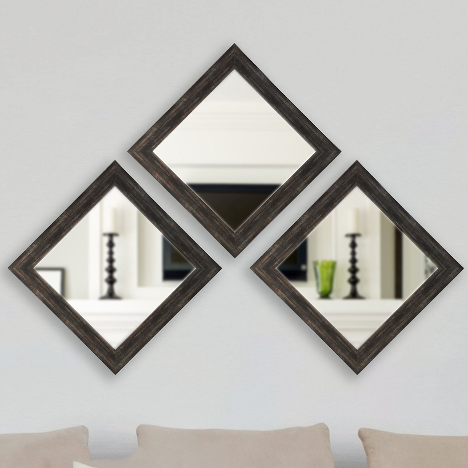Rayne Mirrors Emerson Addison Sterling Square Wall Mirror - Set of 3