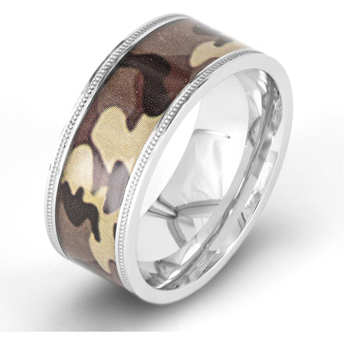 Crucible Stainless Steel Brown Camouflage Ring