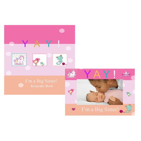 Keepsake Photo Frames (YAY Im A Big Sister, Baby Sibling Keepsake Memory Book and Picture Photo Frame Gift Set for Kids)
