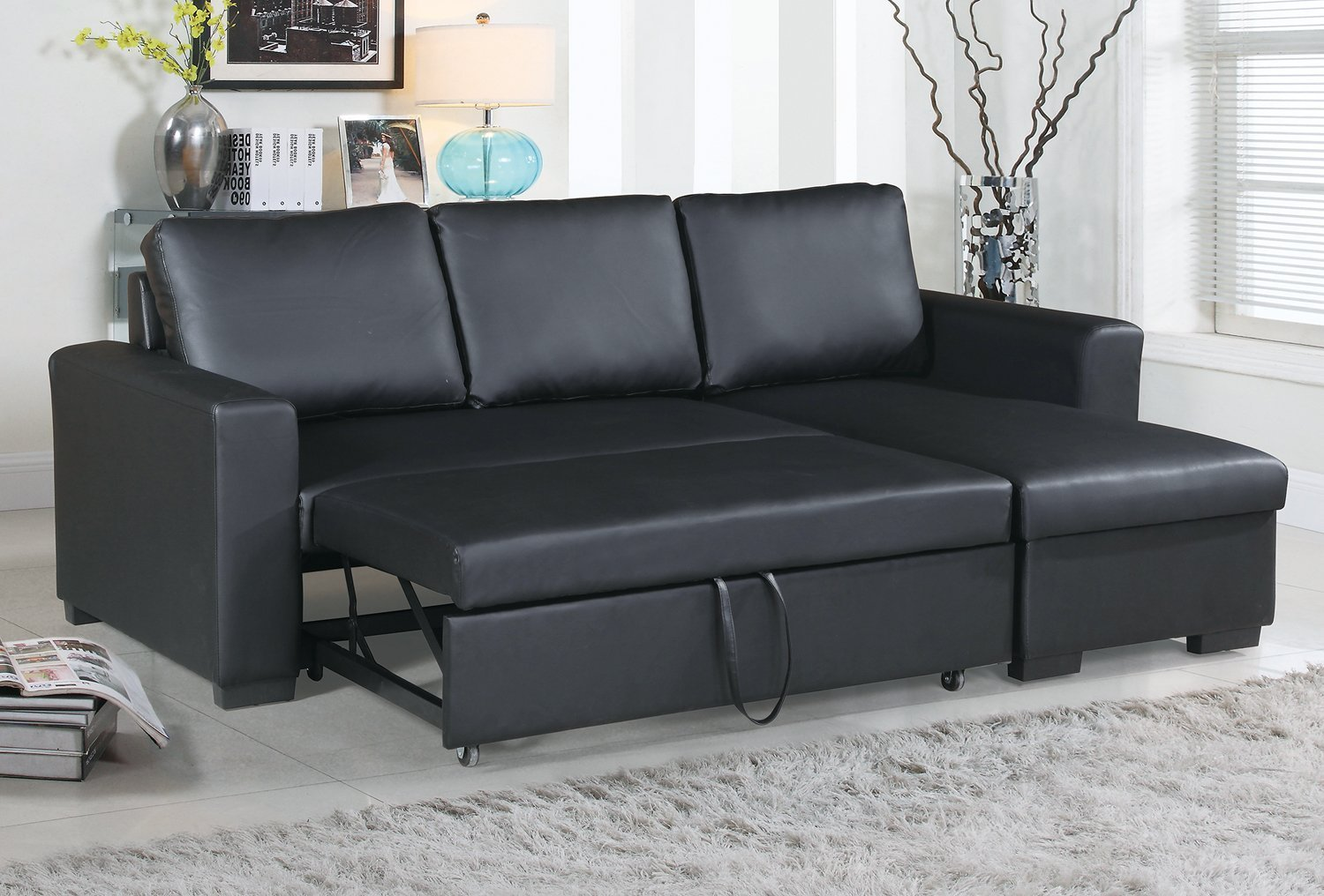 Modern Black Faux Leather Convertible Sectional Sofa Set With Pull Out Bed  ?   Walmart.com