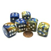 Chessex Gemini 20mm Big D6 Dice, 6 Pieces - Blue-Gold with White Pips #DG2022