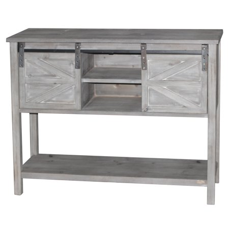 - Antique Farmhouse Console Table with 2 Sliding Barn Doors and Shelf Space in The Middle