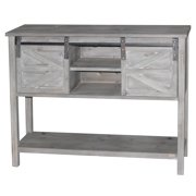 Antique Farmhouse Console Table with 2 Sliding Barn Doors and Shelf Space in The Middle