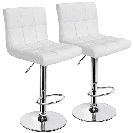 Topeakmart Set of 2 Adjustable Bar Stools Square Back Counter Swivel Barstools Pub/Office Chair White ()