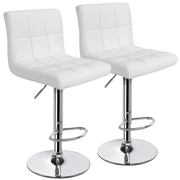Topeakmart Set of 2 Adjustable Bar Stools Square Back Counter Swivel Barstools Pub/Office Chair White