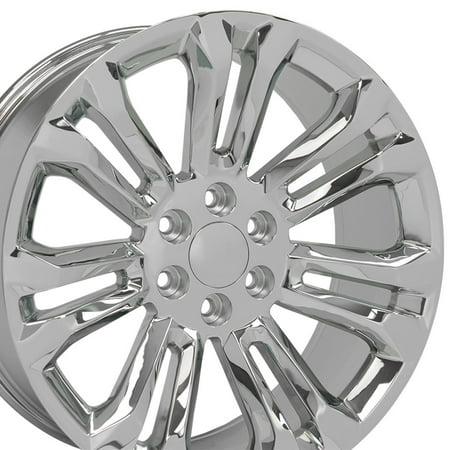 OE Wheels 22 Inch | Fits Chevy Silverado Tahoe GMC Sierra Yukon Cadillac Escalade | CV43 Chrome 22x9 Rim Hollander 5666 2000 Cadillac Escalade Wheel