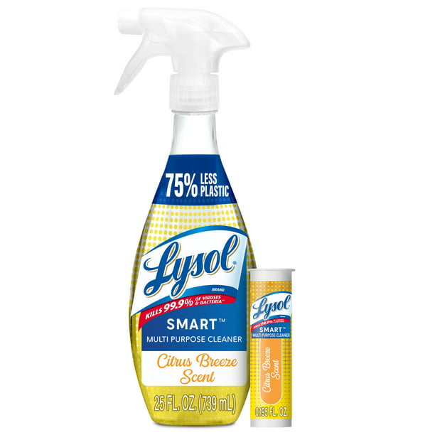 Lysol SMART Multi-Purpose Cleaner - 1+1 Citrus Breeze Starter Kit, bottle re-usable up to 25X and made of recyclable material, help reduce 75% of Plastic