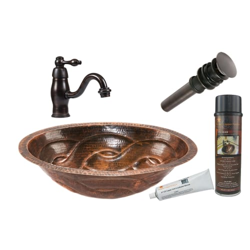 "Premier Copper Products BSP3_LO19FBDDB 17"" Oval Braid Under Counter Hammered Cop"