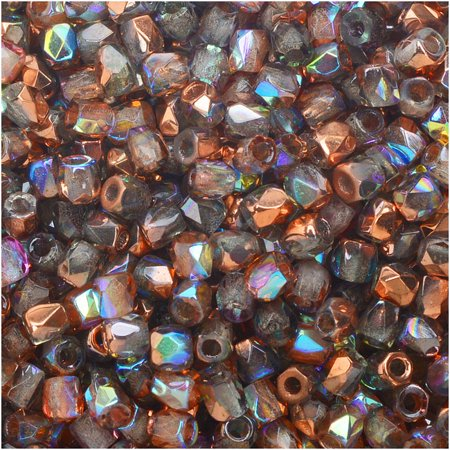 - True2 Czech Fire Polished Glass, Faceted Round Beads 2mm, 50 Pieces, Crystal Copper Rainbow
