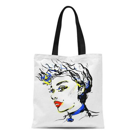 ASHLEIGH Canvas Tote Bag 1980S Girl Model Woman Face Red Lipstick Glamour Sketch Reusable Shoulder Grocery Shopping Bags Handbag](1980s Girls)
