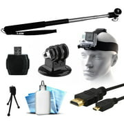 Extendable Selfie Recording Portrait Stick, Head/Helmet Mount Strap, MicroSD Card Reader, HDMI Micro Cable, Mini Tripod, Dust Removal Cleaning Kit for GoPro Hero4 Hero3+ Hero3 Hero2 Hero Camera