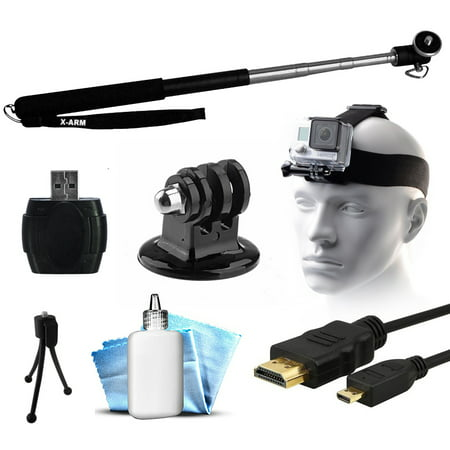 extendable selfie recording portrait stick head helmet mount strap microsd. Black Bedroom Furniture Sets. Home Design Ideas