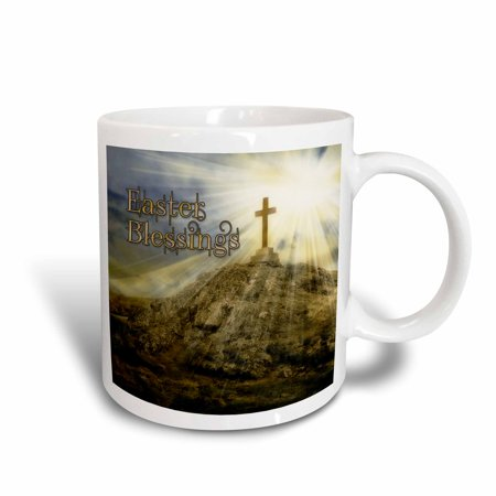 Rays Mug - 3dRose Easter Cross on the Hill with the Suns Rays Shining Down Digital Composition, Ceramic Mug, 11-ounce