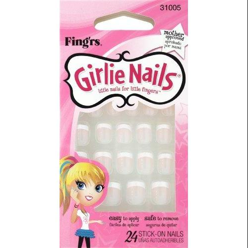 Little Fing'rs Girlie Nails Stick-On Nails, Sparkle Tip French, 2.