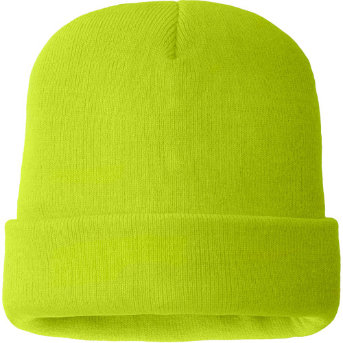 Hands On Mens 100% Acrylic Hi Viz Green Color Beanie Hat  40 gm Thinsulate Lined.