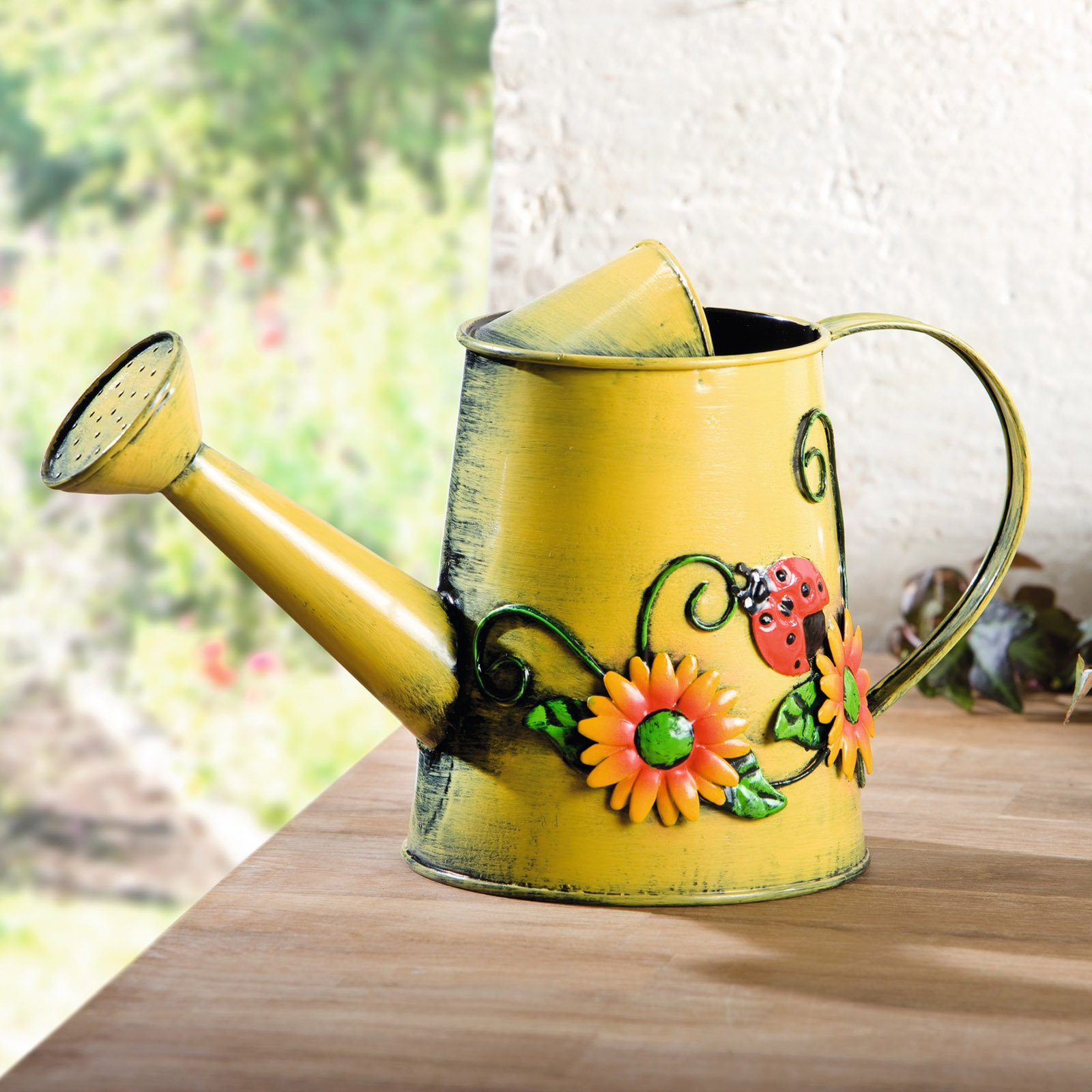 HGC Decorative Sunflower & Ladybug Metal Watering Can by