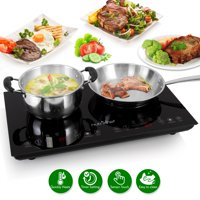 NutriChef PKSTIND48 - Electric Induction Cooktop - Digital Kitchen Countertop Hot Plate Burners with Adjustable Temperature Control, Ceramic Glass (Dual Zone)