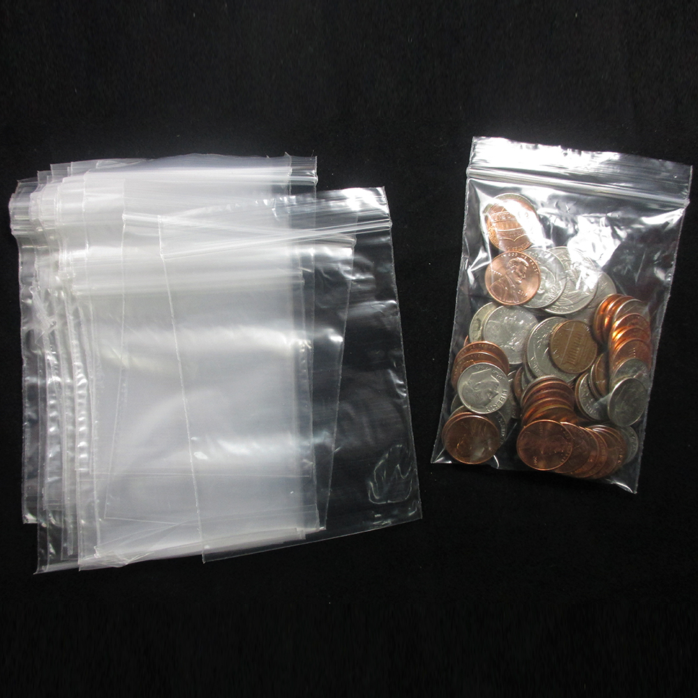 "500 Baggies W 3"" X 4"" H Small Reclosable Clear Plastic Poly Bags 2.5ml"