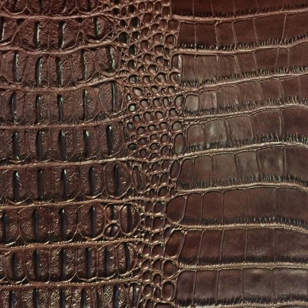 SHASON TEXTILE FAUX LEATHER CROCODILE PRINT UPHOLSTERY FABRIC, BROWN, Available In Multiple - Faux Leather Elastic