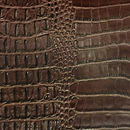 SHASON TEXTILE FAUX LEATHER CROCODILE PRINT UPHOLSTERY FABRIC, BROWN, Available In Multiple - Faux Leather Drawstring