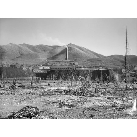 Idaho Lead Mine 1936 Na View Of The Bunker Hill Mine In Kellogg Idaho The Largest Lead Mine In The World Surrounded By Destroyed Trees Photographed By Arthur Rothstein July 1936 Rolled Canvas Art
