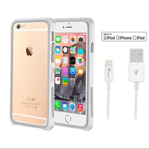 iPhone 6 Case Bundle (Case + Cable), roocase iPhone 6 4.7 Linear Bumper Open Back with Corner Edge Protection Case Cover with White 3ft Lightning Cable for Apple iPhone 6 4.7-inch, White