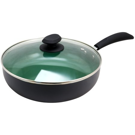 Eco-Friendly Home Hummington 3.5 Quart Green Ceramic Non-Stick Saute Pan with Lid in Matte Grey (5 Quart Oval Saute Pan)