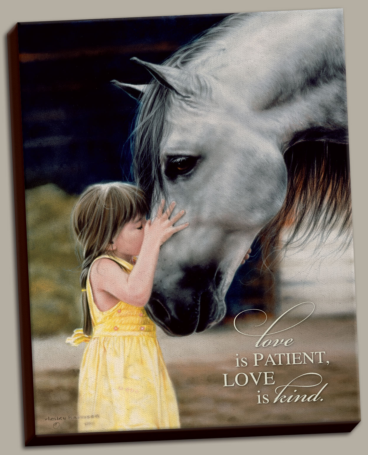 The Kiss By Lesley Harrison A Girl Print 12x16 A Horse