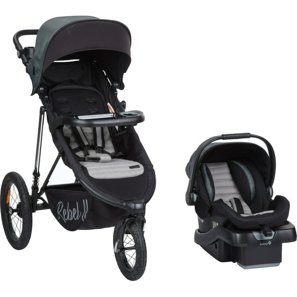 Monbebe Rebel II Travel System, Gray and Black Pinstripe