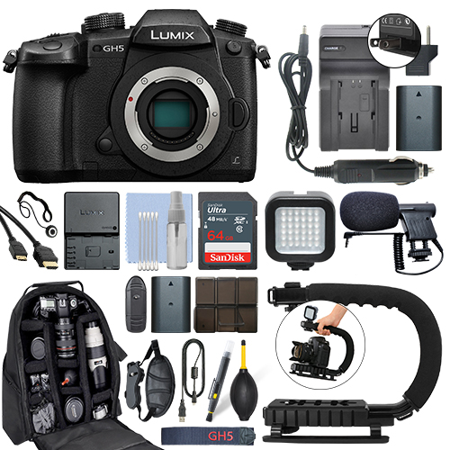 Panasonic Lumix DMC-GH5 20.3 MP 4K Digital Camera Body + 64GB Pro Video Kit by Panasonic