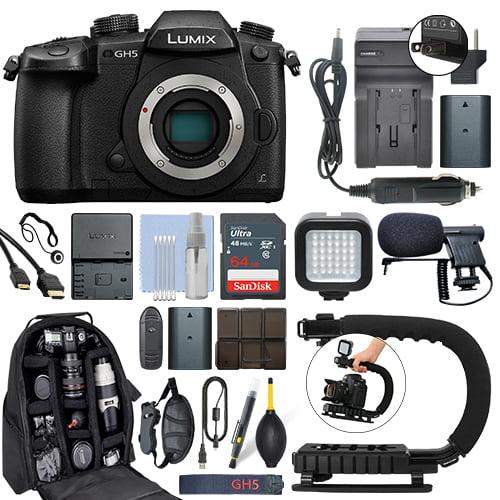 Panasonic Lumix DMC-GH5 20.3 MP 4K Digital Camera Body + 64GB Pro Video Kit by Panasonic