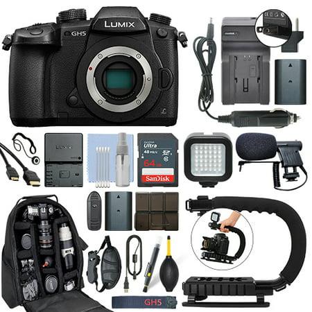 Panasonic Lumix DMC-GH5 20.3 MP 4K Digital Camera Body + 64GB Pro Video Kit