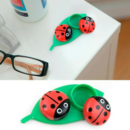 Kikkerland Contact Lens Case Ladybug Travel Kit Pocket Size Gift Set Idea Fun - Halloween Contact Lense Ideas
