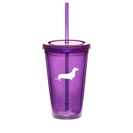 16oz Double Wall Acrylic Tumbler Cup With Straw Dachshund (Purple) ()