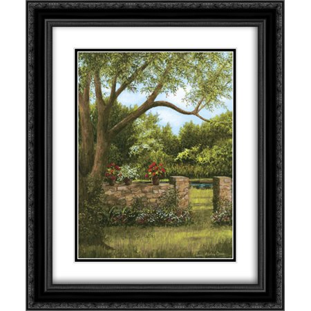 Stone Wall 2x Matted 20x24 Black Ornate Framed Art Print by Casey, Lene Alston