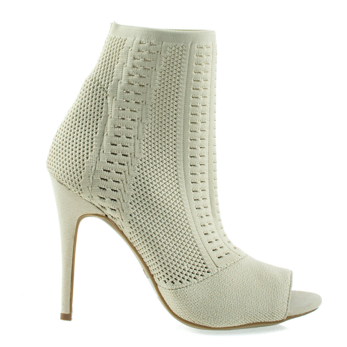 Women/'s Peep Toe High Heel Boots Anne Michelle Elastic Woven Above Ankle Bootie